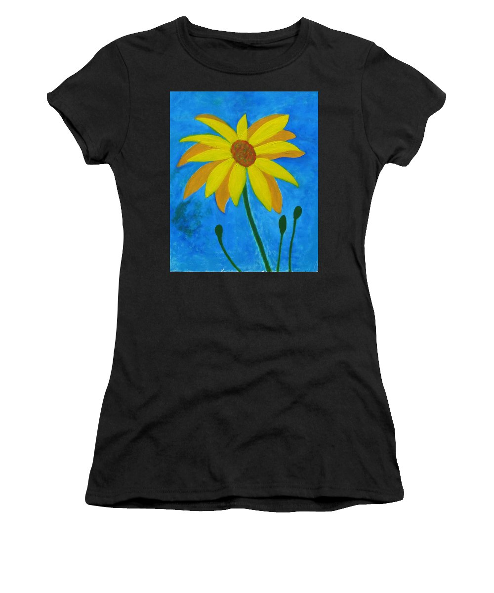 Sunflower Women's T-Shirt (Athletic Fit) featuring the painting Old Yellow by John Scates