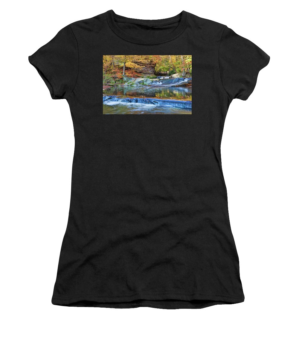 Landscape Women's T-Shirt (Athletic Fit) featuring the photograph Olmsted Waterfalls by Marcia Colelli