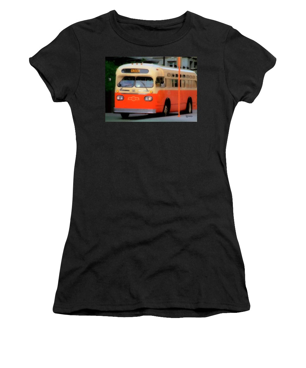Bus Women's T-Shirt (Athletic Fit) featuring the digital art Omaha Retro by RC DeWinter