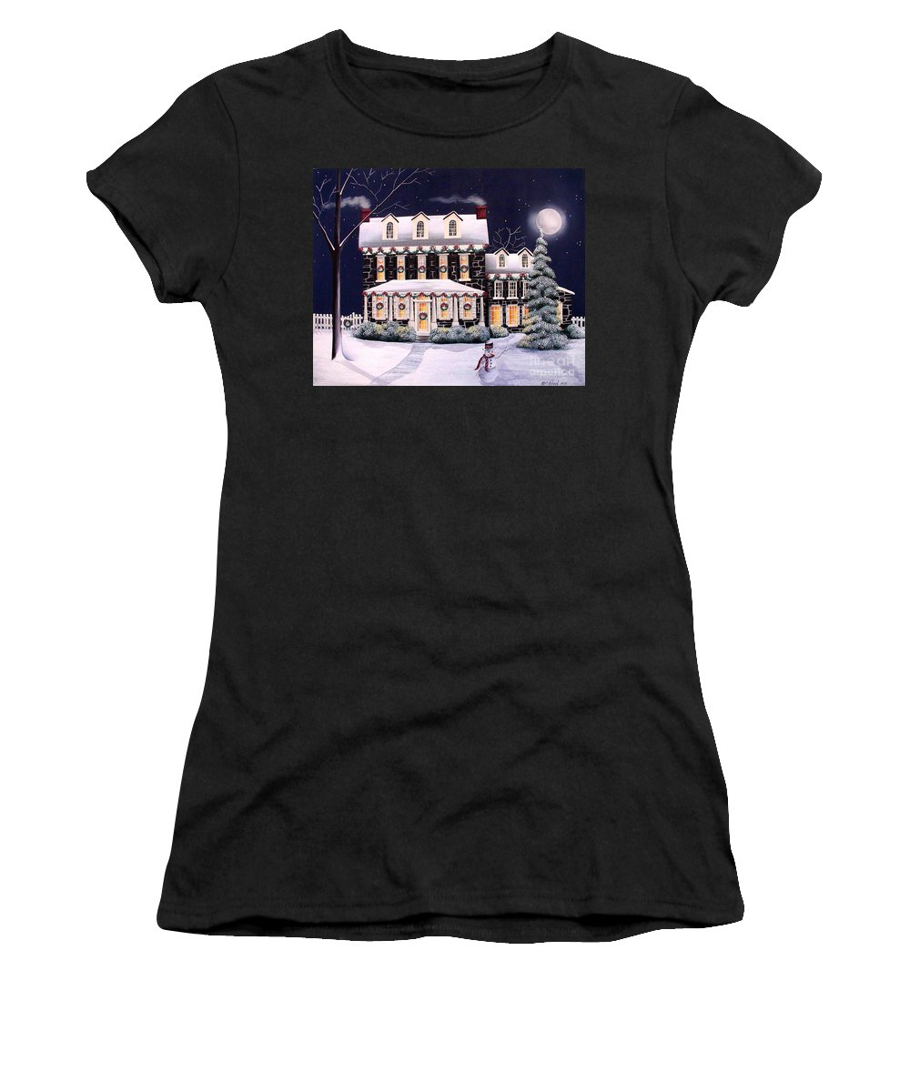 Art Women's T-Shirt (Athletic Fit) featuring the painting On A Cold Winter Evening by Catherine Holman
