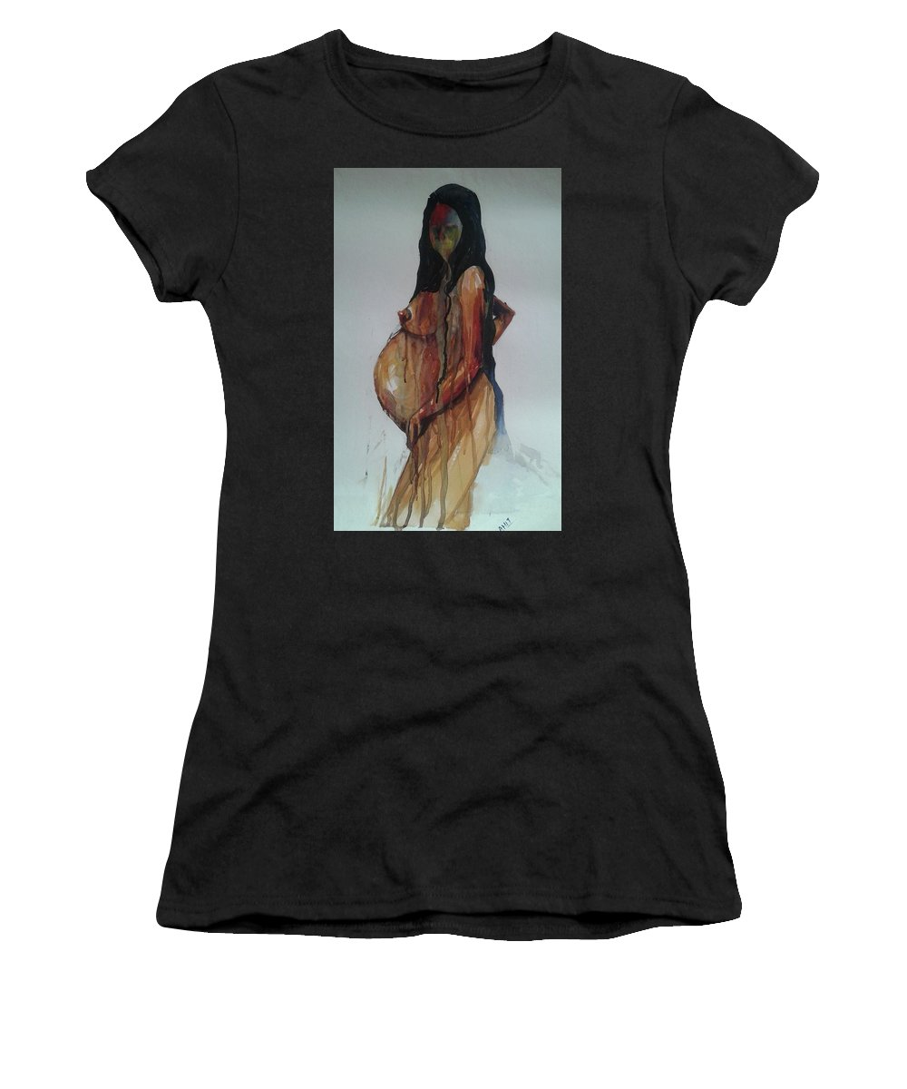 Woman Women's T-Shirt (Athletic Fit) featuring the painting On Hold by Amit Mitra