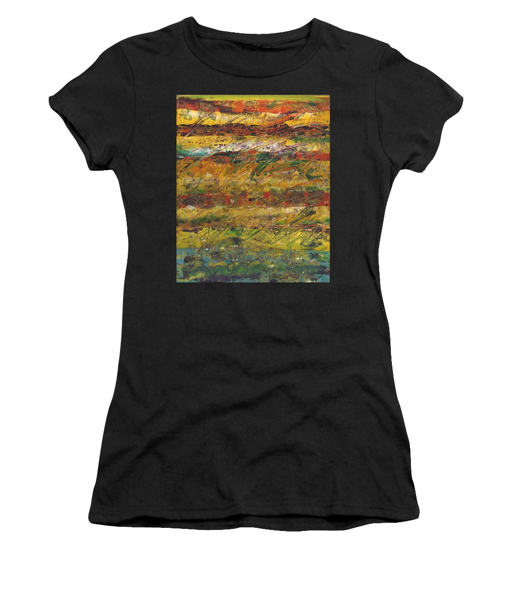 Abstract Women's T-Shirt (Athletic Fit) featuring the painting On Stripe For Diana by Wayne Potrafka
