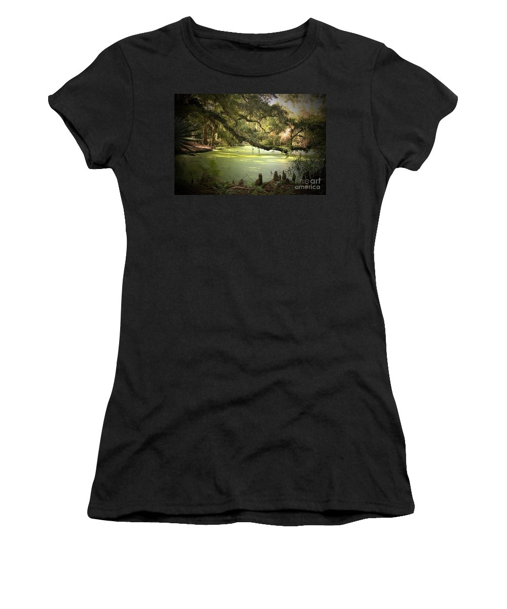 Swamp Women's T-Shirt (Athletic Fit) featuring the photograph On Swamp's Edge by Scott Pellegrin