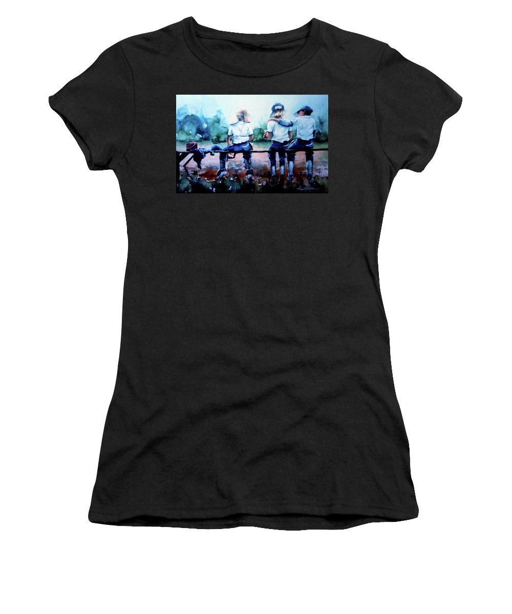 Boys Baseball Women's T-Shirt (Athletic Fit) featuring the painting On The Bench by Hanne Lore Koehler