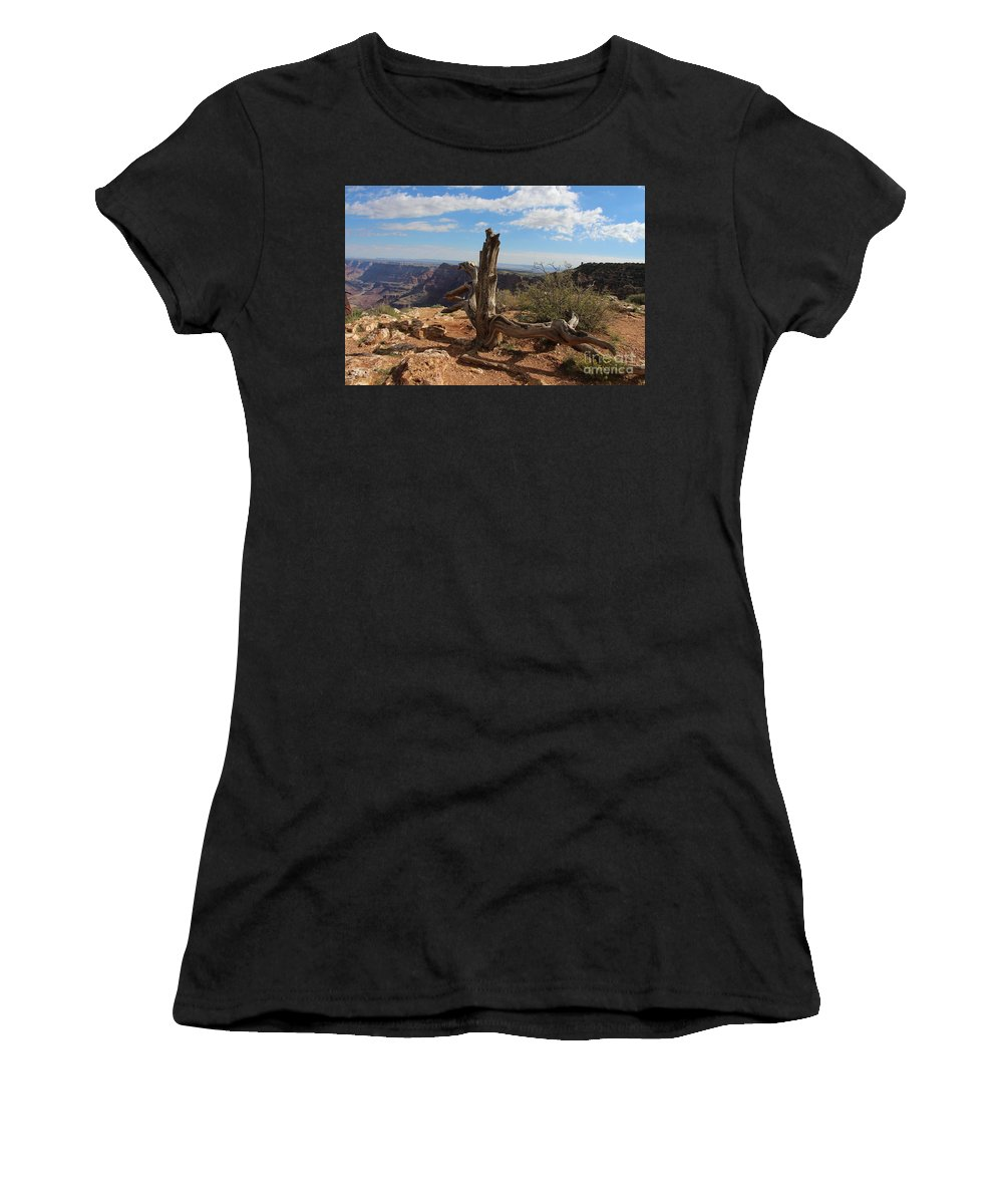 Grand Canyon Women's T-Shirt (Athletic Fit) featuring the photograph On The Edge by Devin Wilger