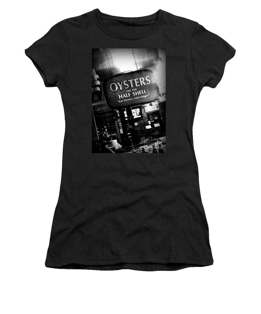 Black & White Women's T-Shirt (Athletic Fit) featuring the photograph On The Half Shell - Bw by Scott Pellegrin