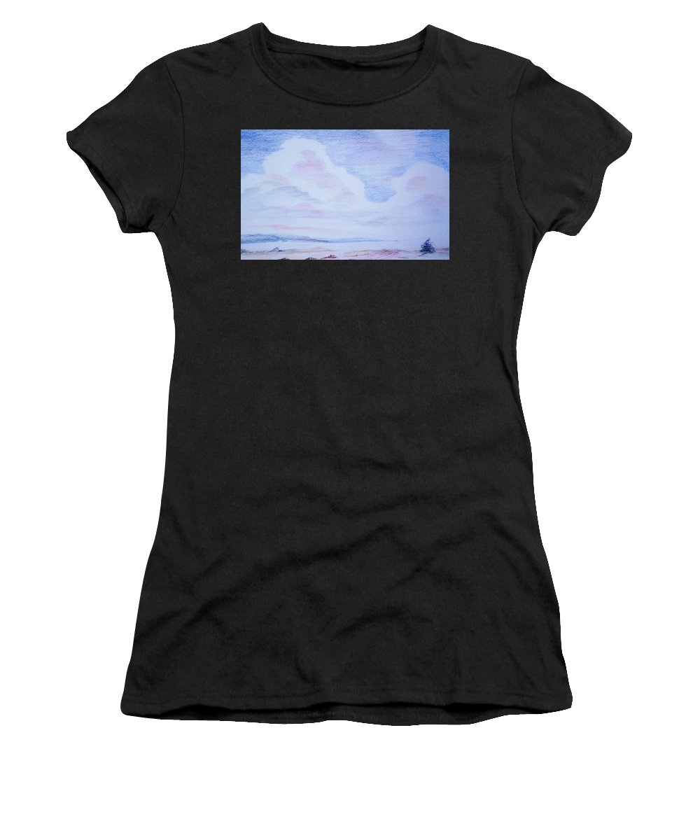 Landscape Painting Women's T-Shirt (Athletic Fit) featuring the painting On The Way by Suzanne Udell Levinger