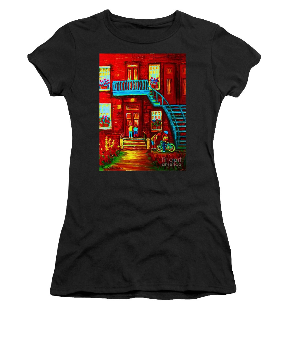 Bikes Women's T-Shirt (Athletic Fit) featuring the painting One Bike For Two Brothers by Carole Spandau