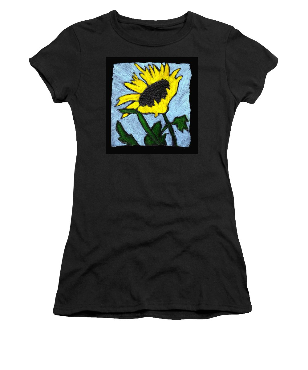 Flower Women's T-Shirt (Athletic Fit) featuring the painting One Sunflower by Wayne Potrafka