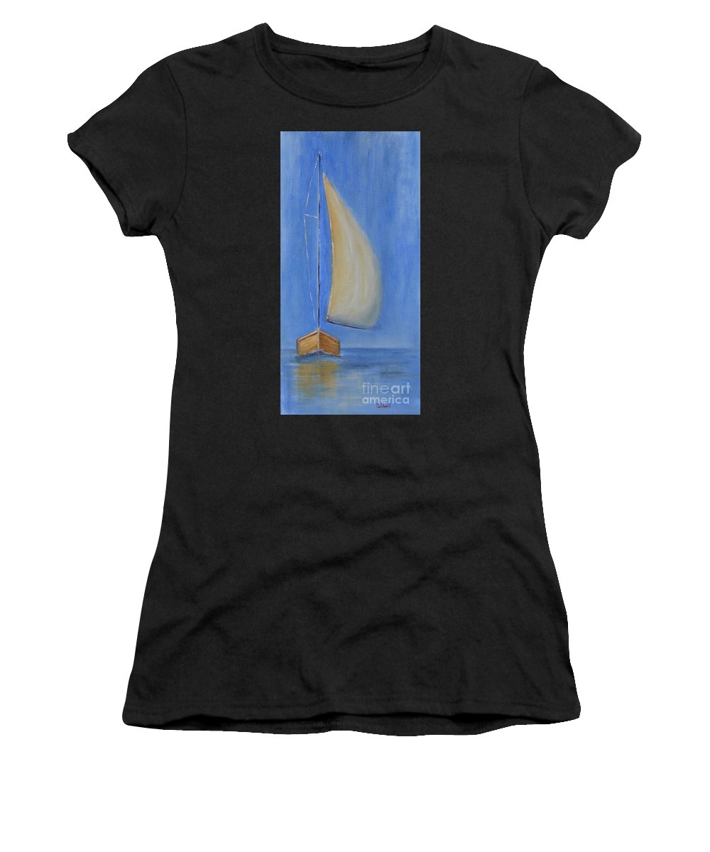 Sailboat Ocean Blue Water Sea Sailcloth Hoist Trip By Water Sails Set Women's T-Shirt featuring the painting Open Sail by Patricia Caldwell