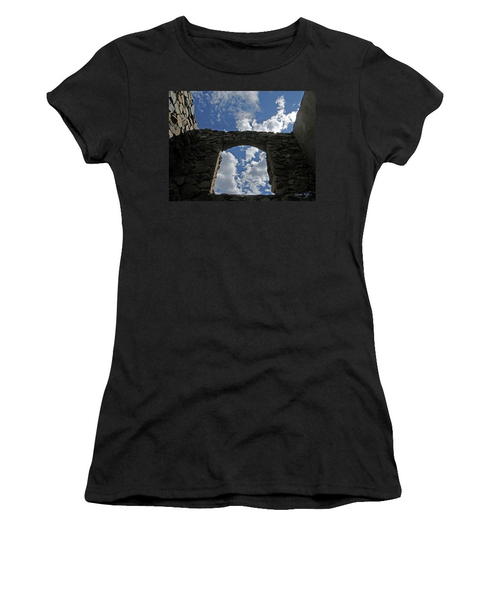Old House Mining Colorado Sky Clouds Rocky Mountains Spacious Simple Zen Women's T-Shirt (Athletic Fit) featuring the photograph Open To The Sky by George Tuffy