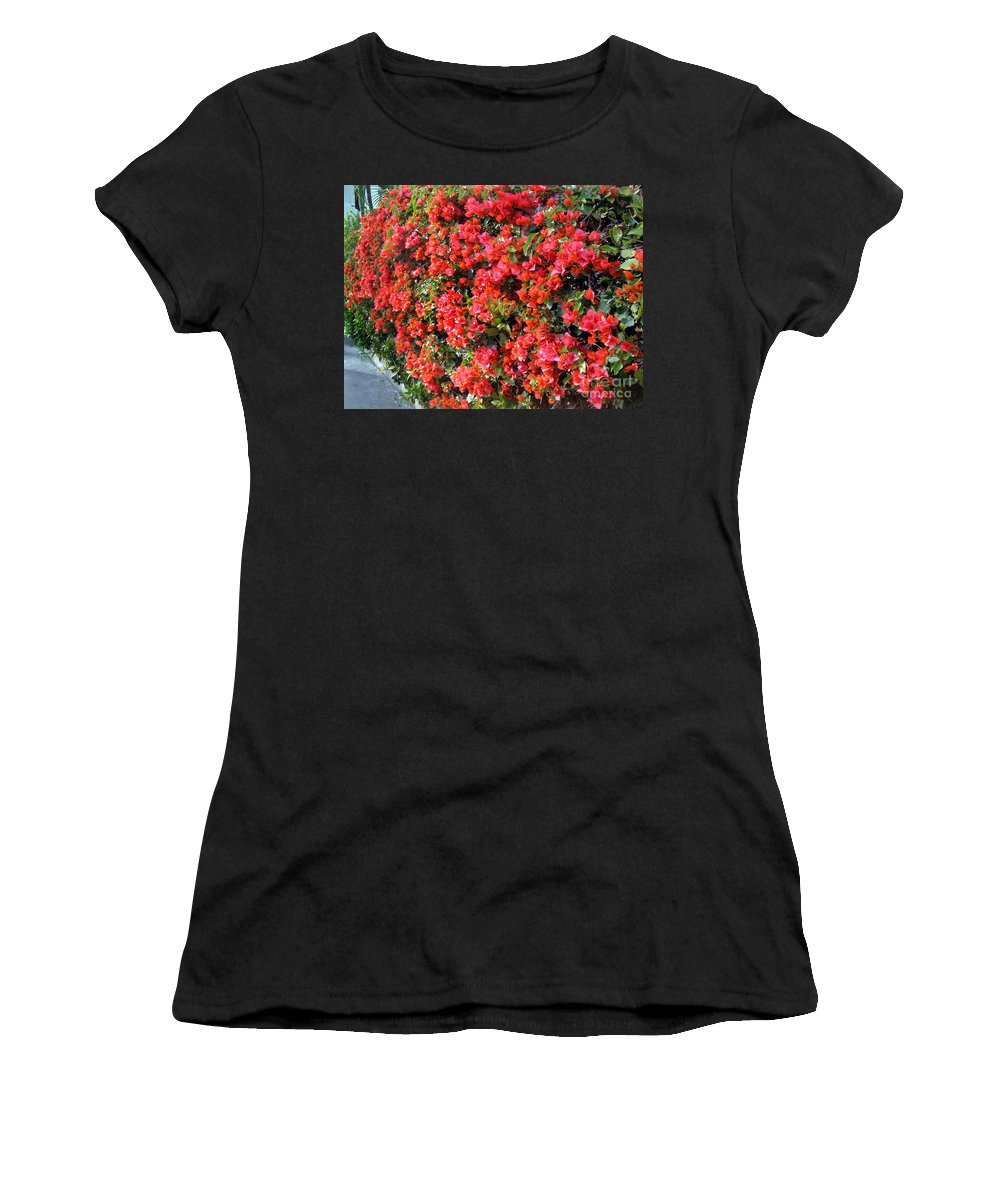 Orange Flowers Women's T-Shirt (Athletic Fit) featuring the photograph Orange And Colral-pink Flowers 2 by Sofia Metal Queen