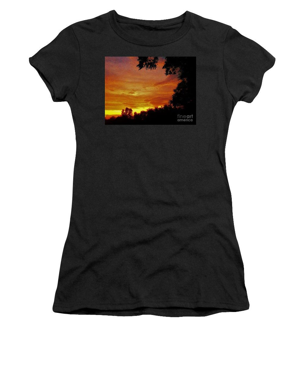 Orange Women's T-Shirt (Athletic Fit) featuring the photograph Orange And Yellow Sunset by Debra Lynch