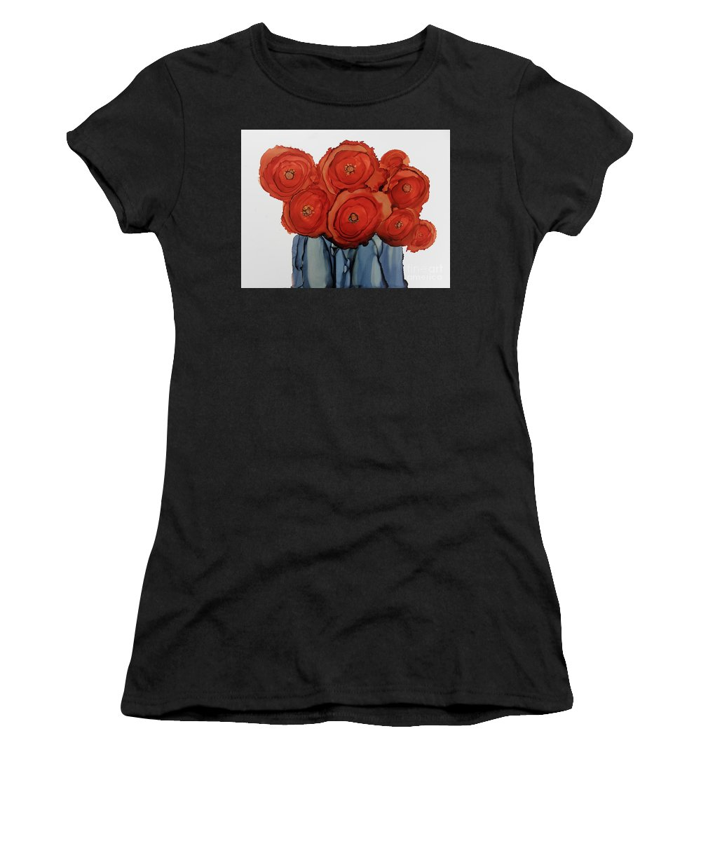 Orange Blooms Women's T-Shirt featuring the painting Orange Blooms by Beth Kluth