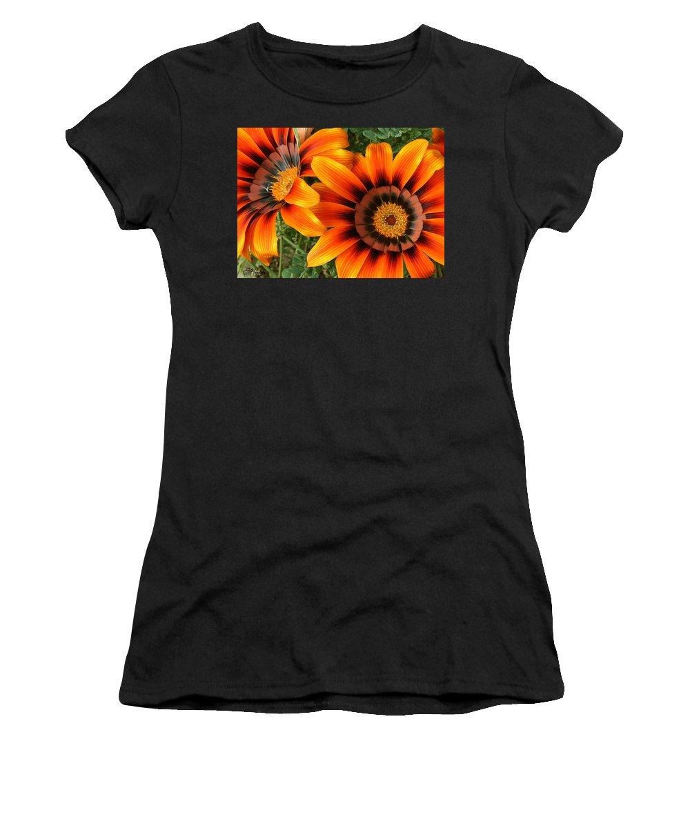 Orange Gazania Women's T-Shirt (Athletic Fit) featuring the painting Orange Gazania by Ellen Henneke