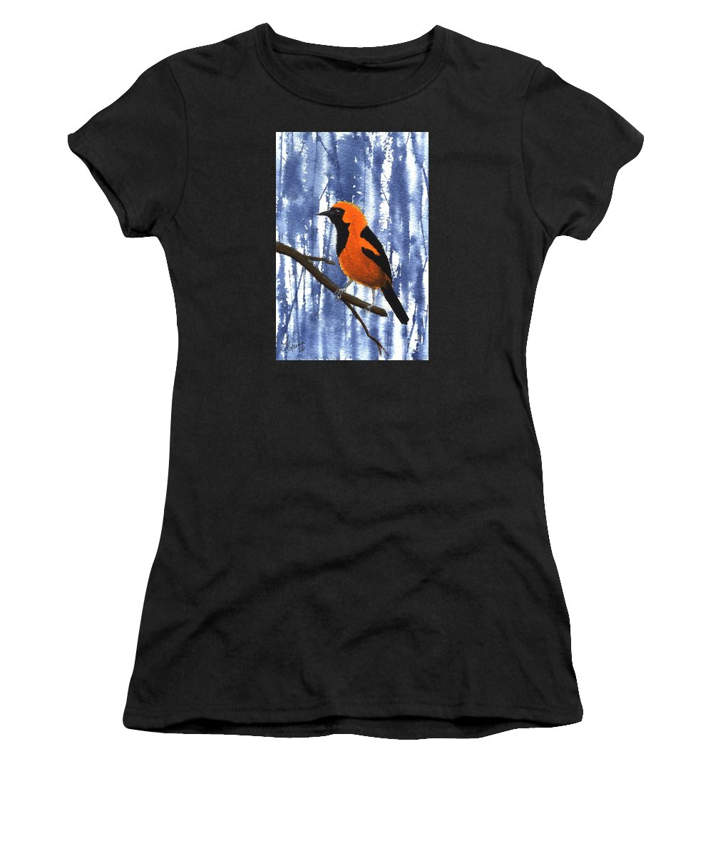 Bird Women's T-Shirt featuring the painting Orange-headed Oriole by Lynn Quinn