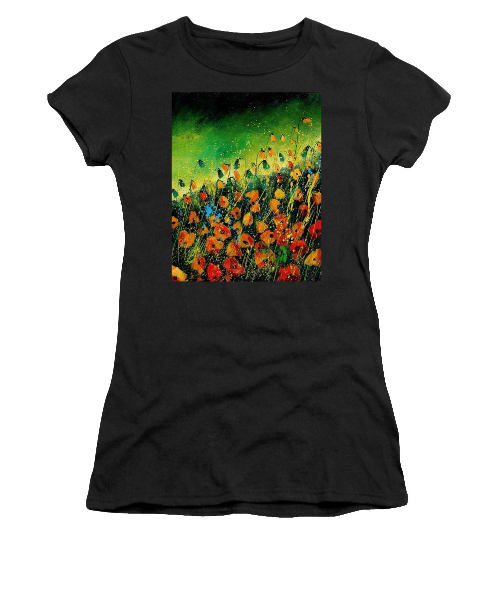 Poppies Women's T-Shirt (Athletic Fit) featuring the painting Orange Poppies 459080 by Pol Ledent