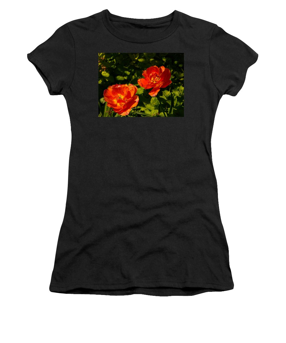 'orange Tulips' Women's T-Shirt (Athletic Fit) featuring the photograph Orange Tulips In My Garden by Helmut Rottler