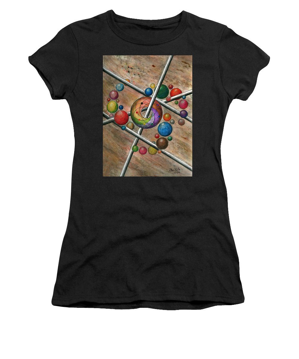 Orbital Ker Plunk Women's T-Shirt (Athletic Fit) featuring the drawing Orbital Ker Plunk by Peter Piatt