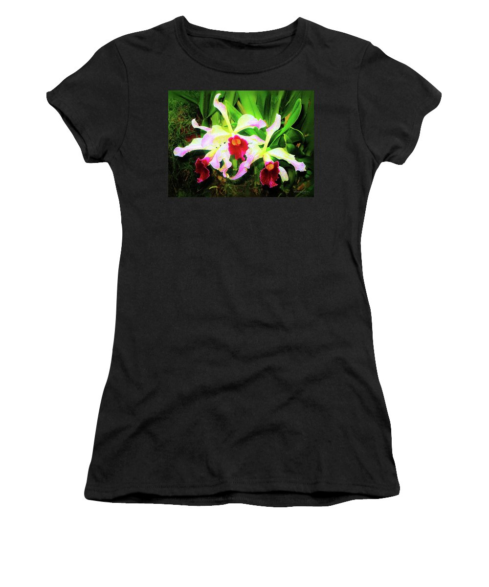 Flowers Women's T-Shirt (Athletic Fit) featuring the painting Orchid Flowers Color 1 by Susanna Katherine
