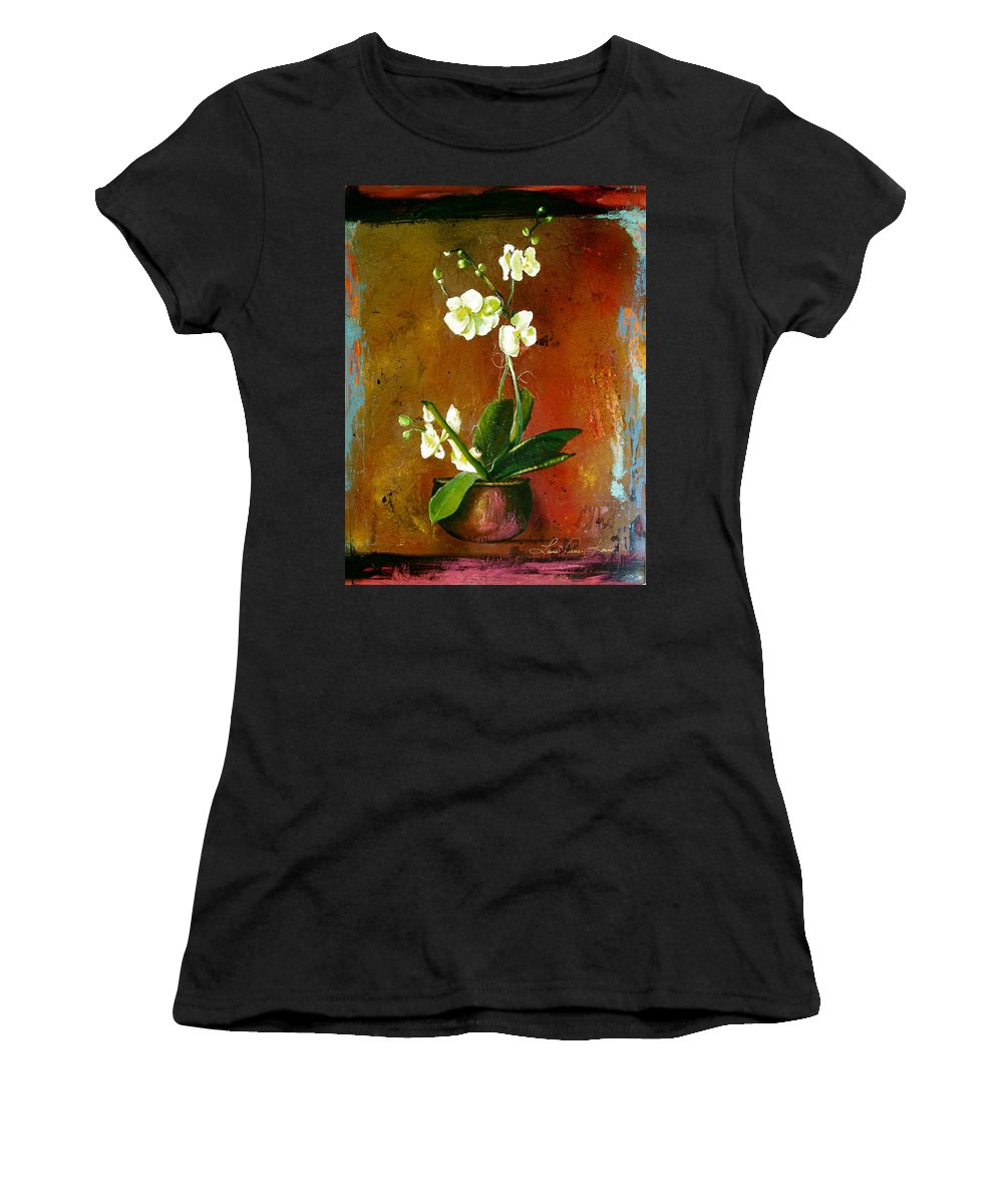 Orchid Art Beautiful Art Women's T-Shirt (Athletic Fit) featuring the painting Orchid by Laura Pierre-Louis