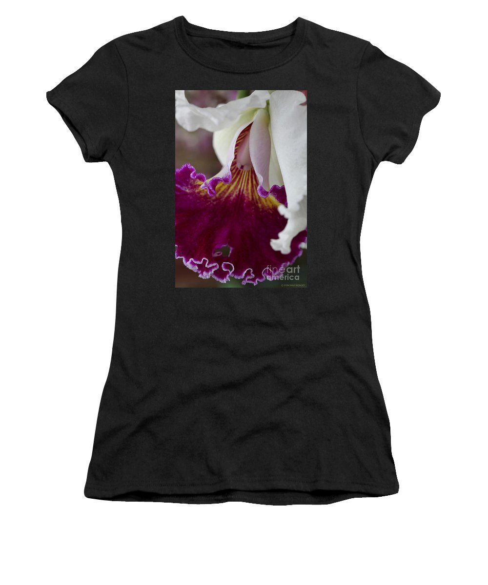 Orchid Women's T-Shirt featuring the photograph Orchid Ruffle by Deborah Benoit