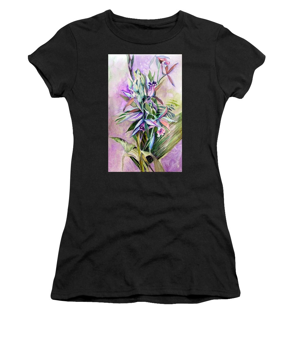 Orchids Women's T-Shirt (Athletic Fit) featuring the painting Orchids- Botanicals by Mindy Newman