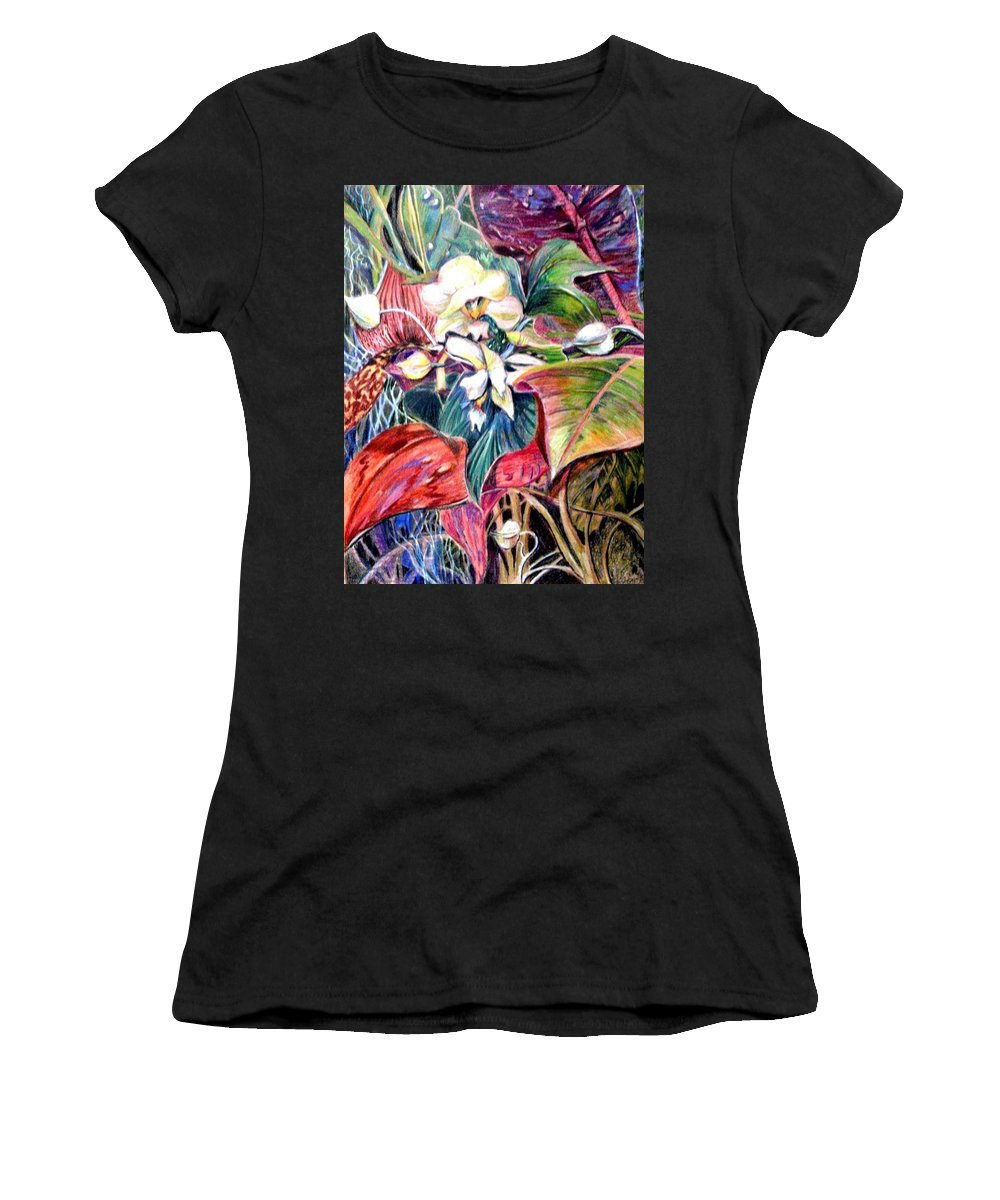 Valentines Women's T-Shirt (Athletic Fit) featuring the drawing Orchids In White by Mindy Newman
