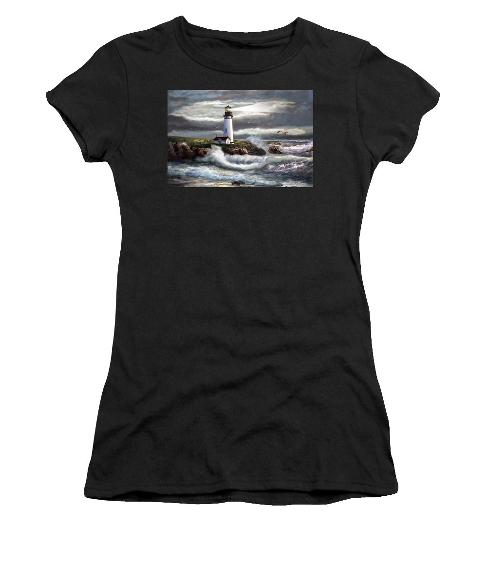 Seascape Art Women's T-Shirt (Athletic Fit) featuring the painting Oregon Lighthouse Beam Of Hope by Regina Femrite