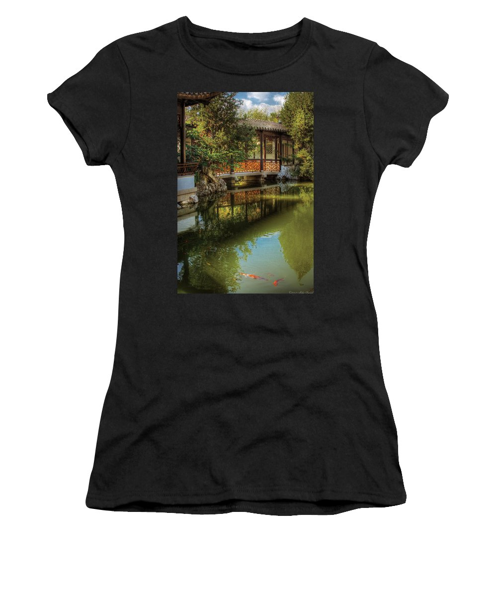 Savad Women's T-Shirt featuring the photograph Orient - Bridge - The Chinese Garden by Mike Savad