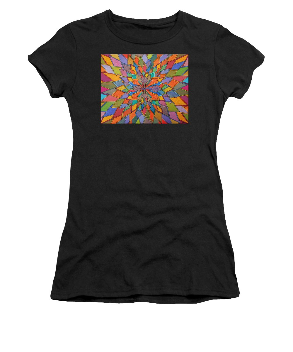 Modern Women's T-Shirt (Athletic Fit) featuring the painting Orientation by Pradillon Jonathan