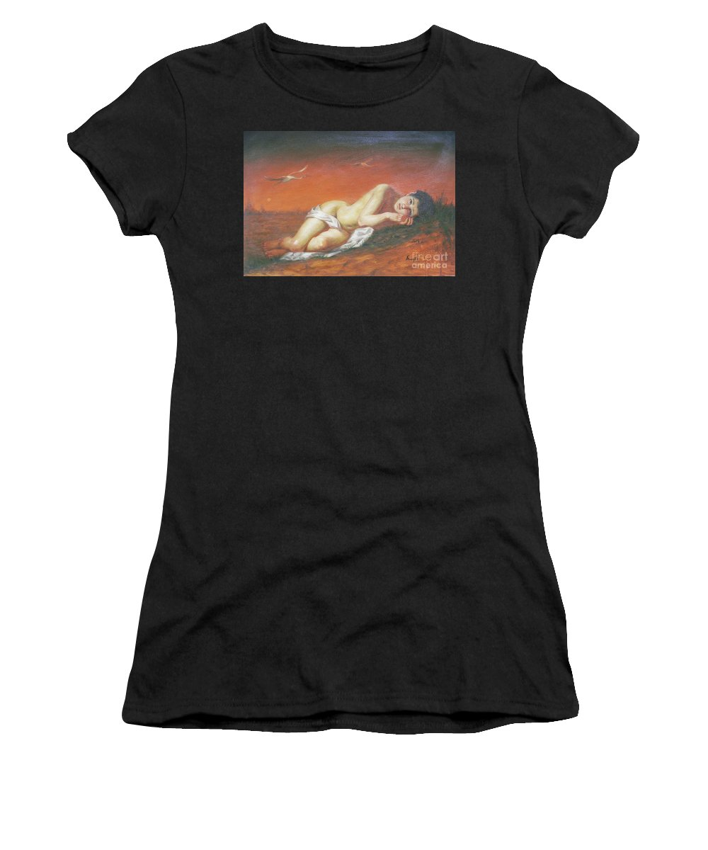 Original Women's T-Shirt featuring the painting Original Classic Oil Painting Red-crowned Crane On Linen #16-2-5-46 by Hongtao Huang