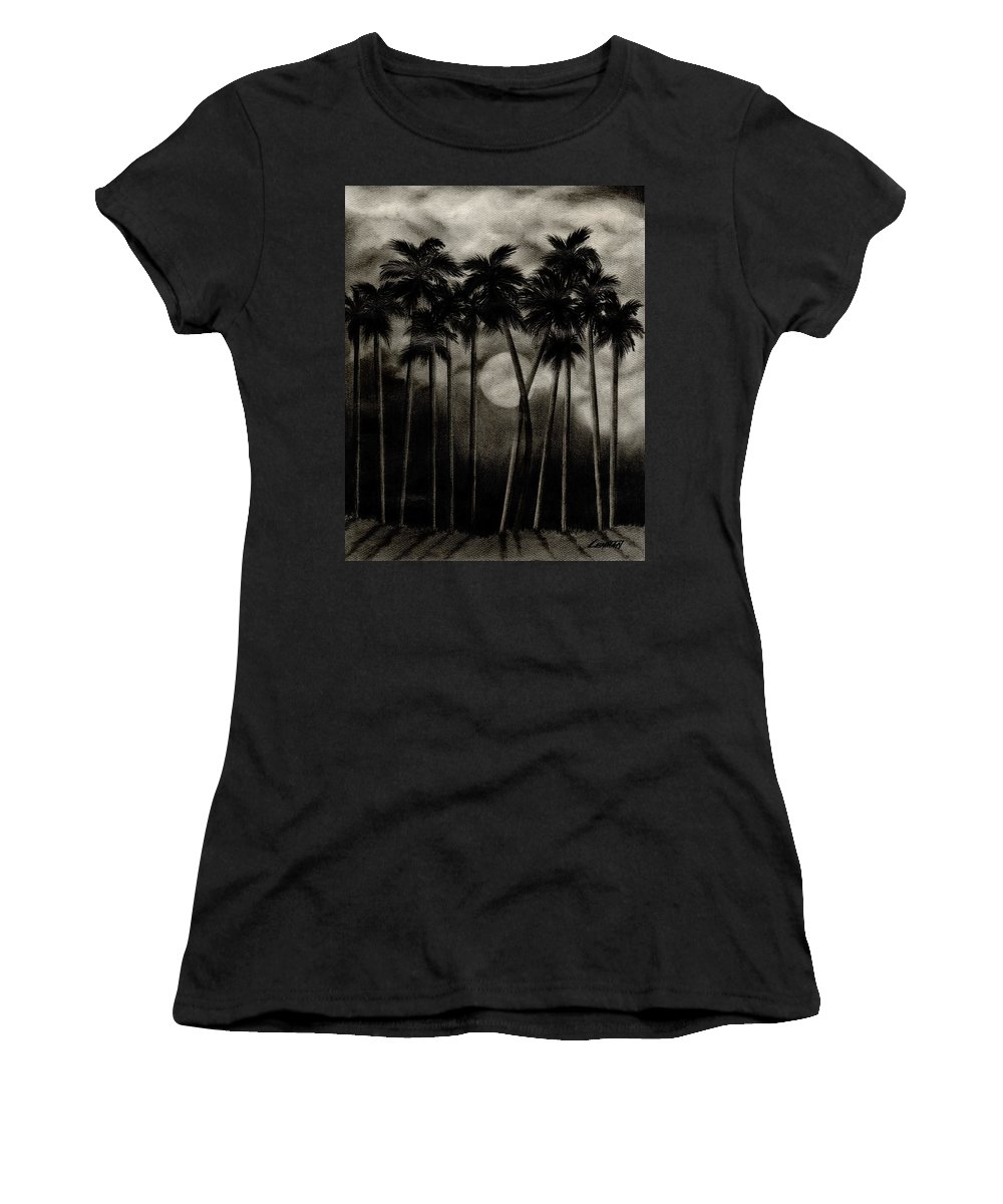 Original Moonlit Palm Trees Women's T-Shirt (Athletic Fit) featuring the drawing Original Moonlit Palm Trees by Larry Lehman