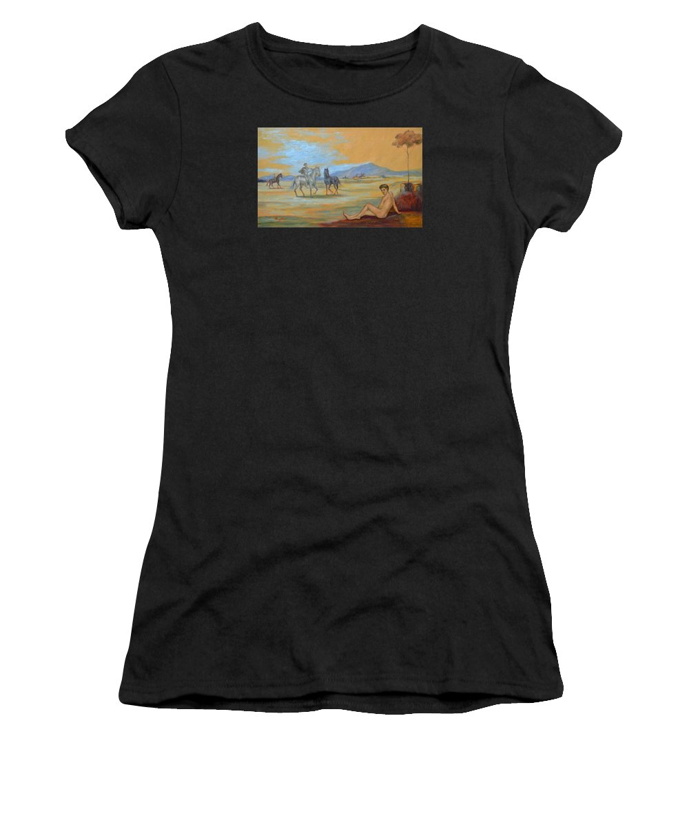 Original. Oil Painting Art Women's T-Shirt (Athletic Fit) featuring the painting Original Oil Painting Art Male Nude With Horses On Canvas #16-2-5 by Hongtao   Huang