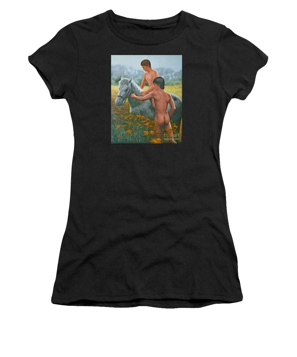 Art Women's T-Shirt (Athletic Fit) featuring the painting Original Oil Painting Gay Interest Male Nude Boy And Horse On Linen-0026 by Hongtao   Huang