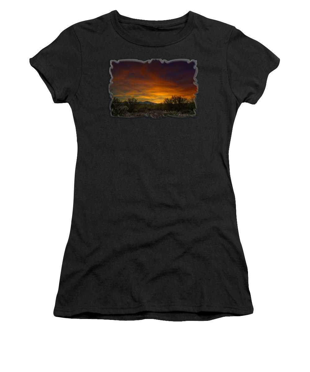 Arizona Women's T-Shirt featuring the photograph Oro Valley Sunset H02 by Mark Myhaver