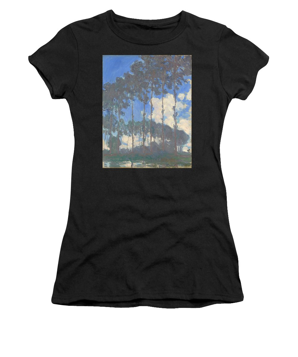 Claude Women's T-Shirt (Athletic Fit) featuring the digital art Oscar Monet  Poplars On The Epte by PixBreak Art