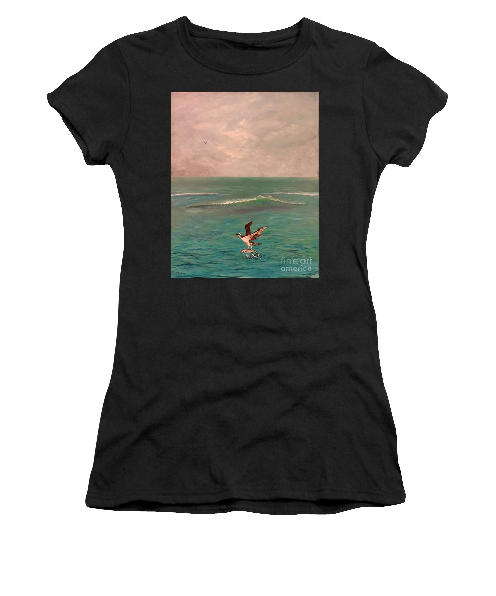Osprey Women's T-Shirt (Athletic Fit) featuring the painting Osprey Rising by Toby Daniel Jones