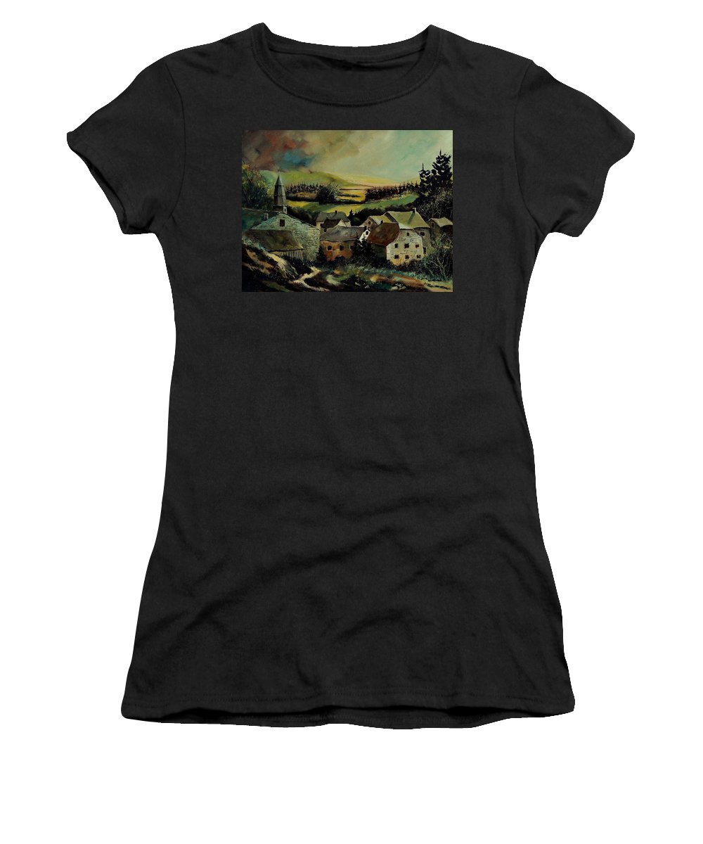 Village Women's T-Shirt (Athletic Fit) featuring the painting Our Opont Belgium by Pol Ledent