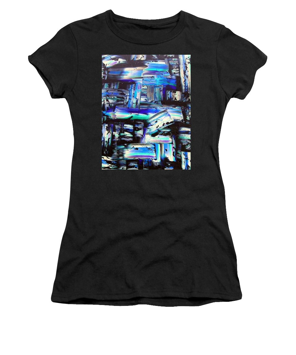 Out Of The Blue Women's T-Shirt featuring the painting Out Of The Blue by Dawn Hough Sebaugh