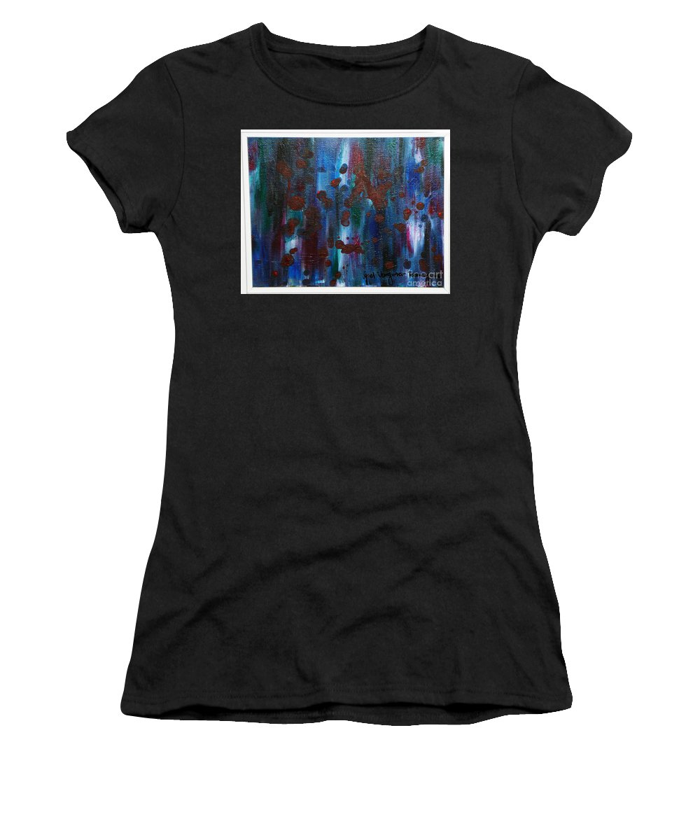 Acrylic Painting Women's T-Shirt (Athletic Fit) featuring the painting Out Of The Blue by Yael VanGruber