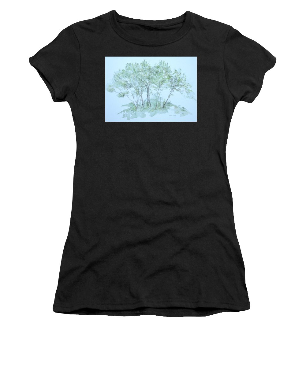 Trees Women's T-Shirt (Athletic Fit) featuring the painting Outer Banks by Leah Tomaino