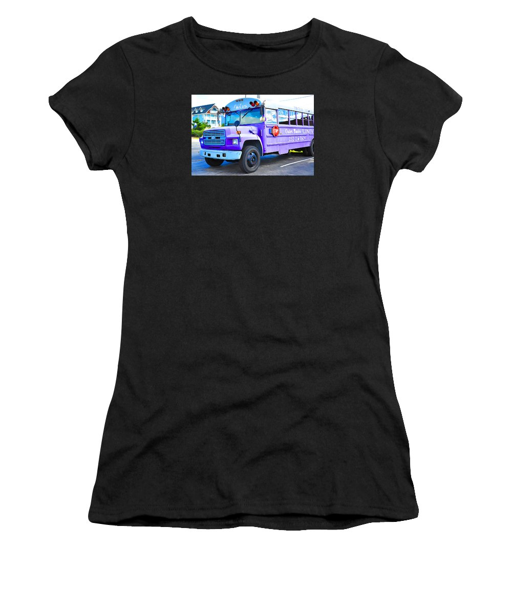 Bus Women's T-Shirt (Athletic Fit) featuring the painting Outer Banks University Bus 2 by Jeelan Clark