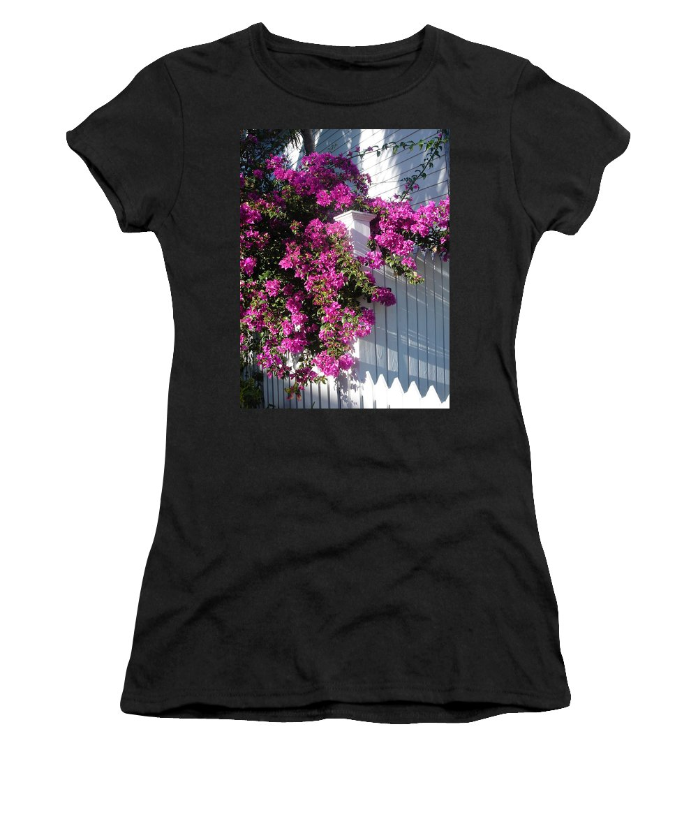Flower Women's T-Shirt (Athletic Fit) featuring the photograph Over The Fence by Susanne Van Hulst