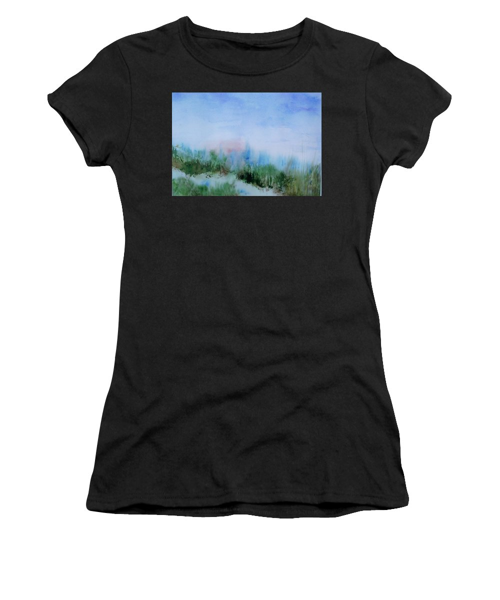 Landscape Women's T-Shirt (Athletic Fit) featuring the painting Overlook by Suzanne Udell Levinger