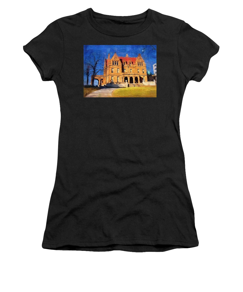 Architecture Women's T-Shirt (Athletic Fit) featuring the digital art Pabst Mansion by Anita Burgermeister