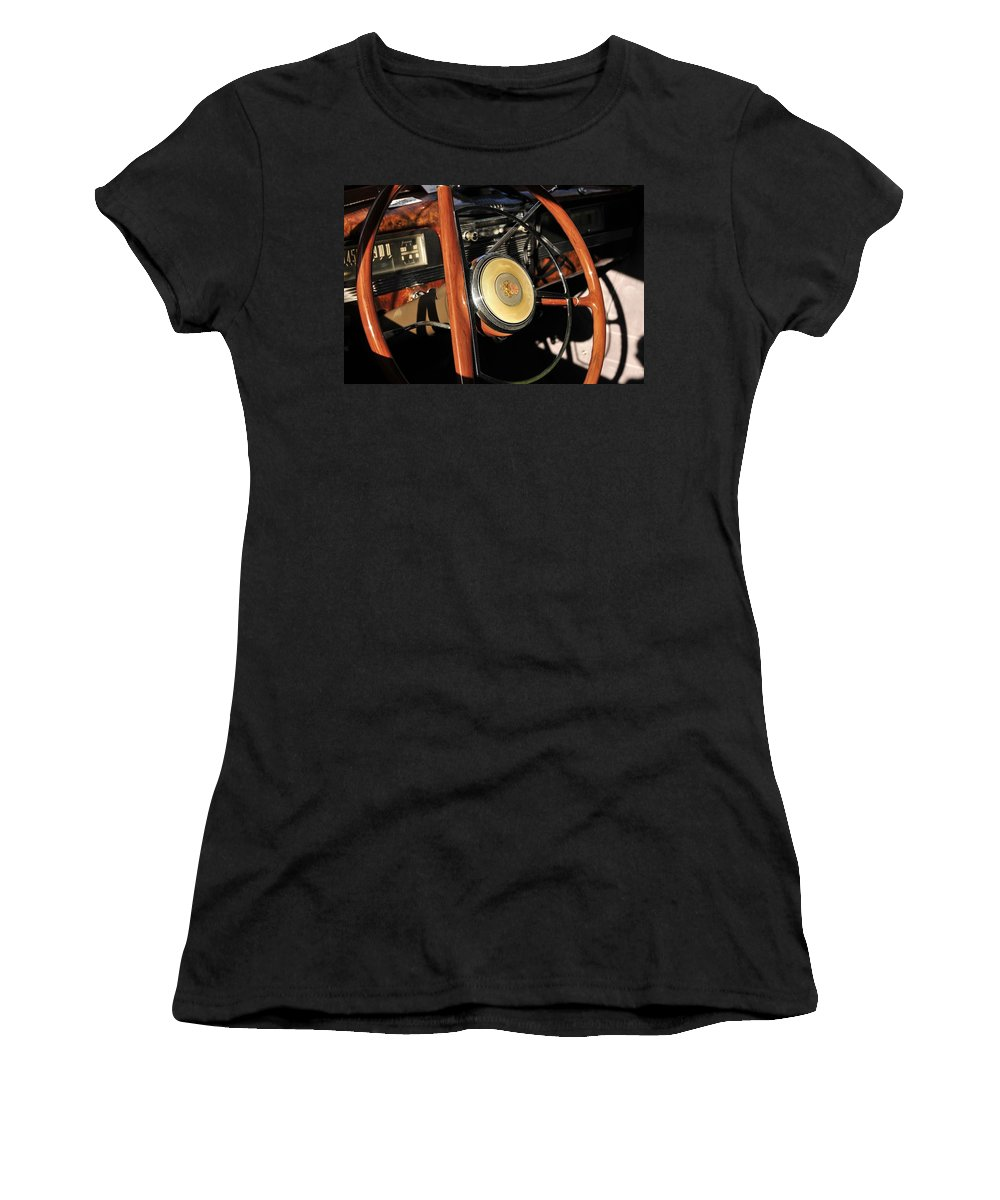 Steering Wheel Women's T-Shirt (Athletic Fit) featuring the photograph Packard Steering Wheel by David Lee Thompson