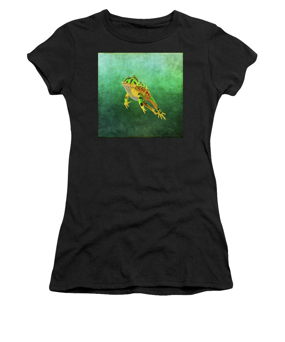 Frog Women's T-Shirt (Athletic Fit) featuring the painting Pacman Frog by Gary D Baker