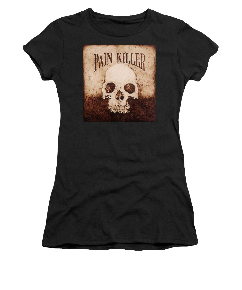 Pyrography Women's T-Shirt (Athletic Fit) featuring the pyrography Pain Killer by Dan LaTour