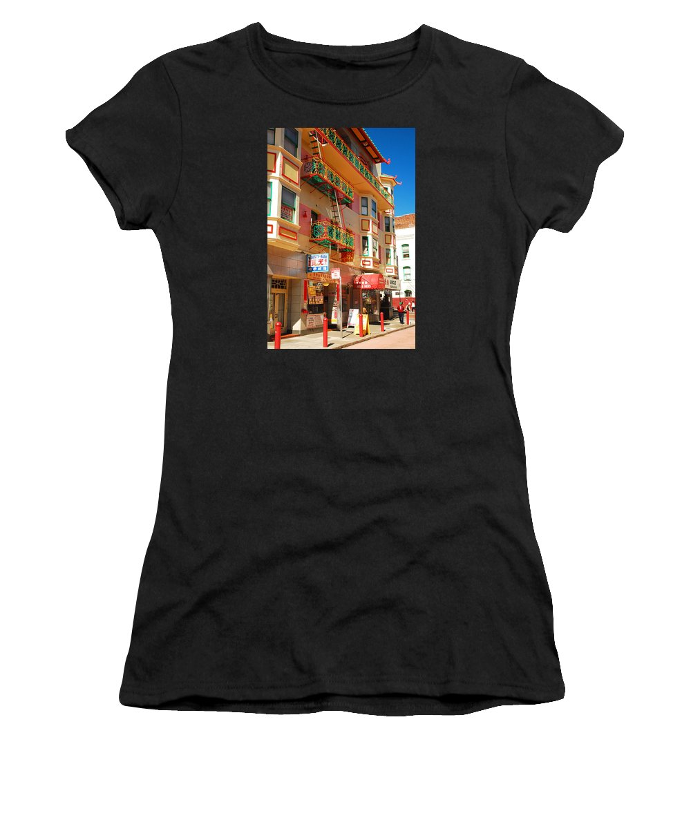 Chinatown Women's T-Shirt (Athletic Fit) featuring the photograph Painted Balconies In San Francisco Chinatown by James Kirkikis